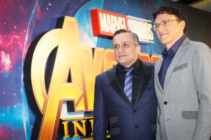 LONDON, ENGLAND - APRIL 08: Joe (L) and Anthony (R) Russo attend the UK Fan Event to celebrate the release of Marvel Studios' 'Avengers: Infinity War' at The London Television Centre on April 8, 2018 in London, England.