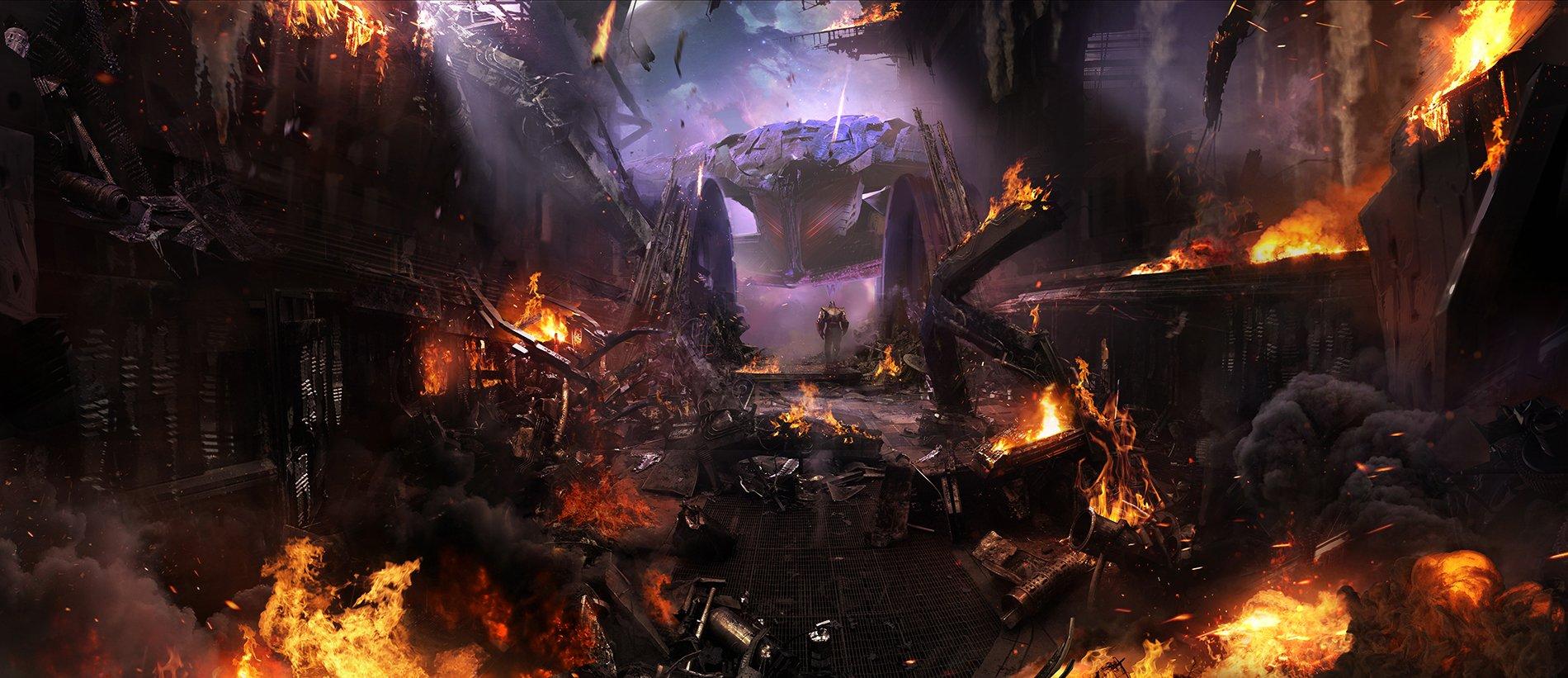 Концепт-арт Войны Бесконечности: Ark destruction by Pete Thompson