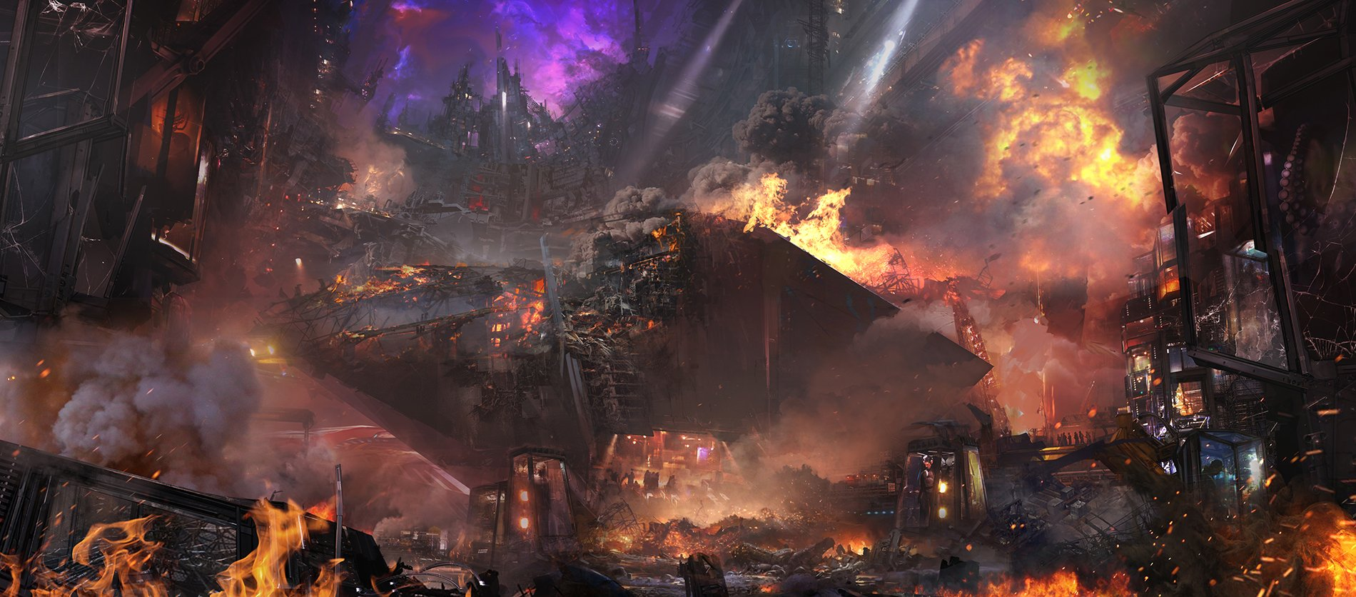 Концепт-арт Войны Бесконечности: Knowere evacuation destruction by Pete Thompson