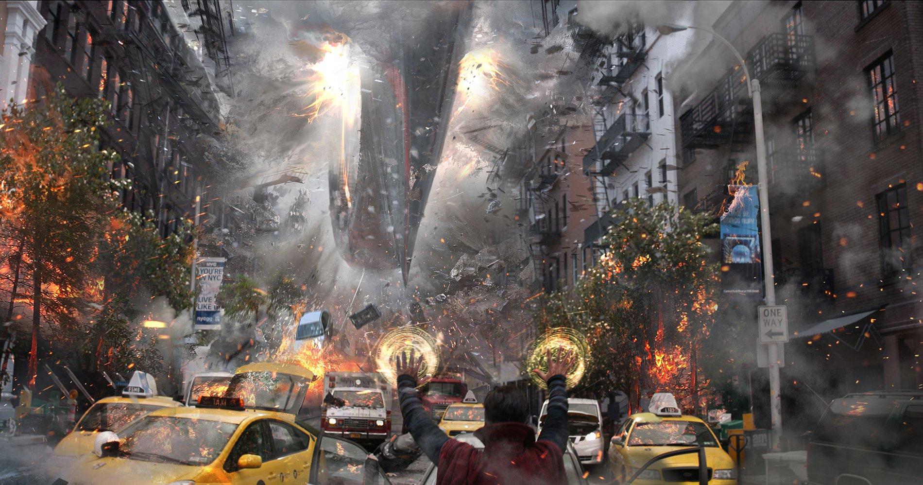 Концепт-арт Войны Бесконечности: New York Street by Pete Thompson