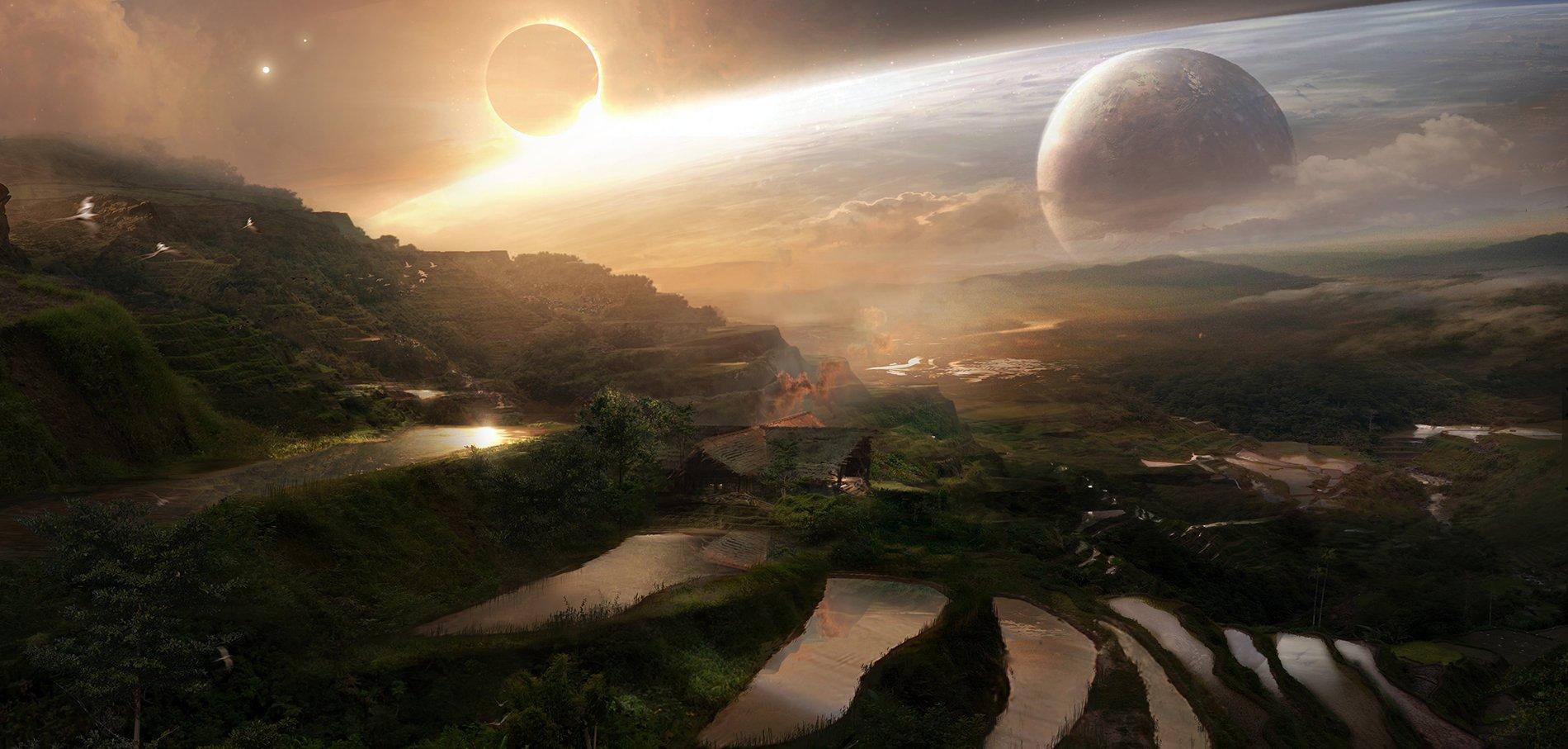 Концепт-арт Войны Бесконечности: Titan Thanos Farm by Pete Thompson