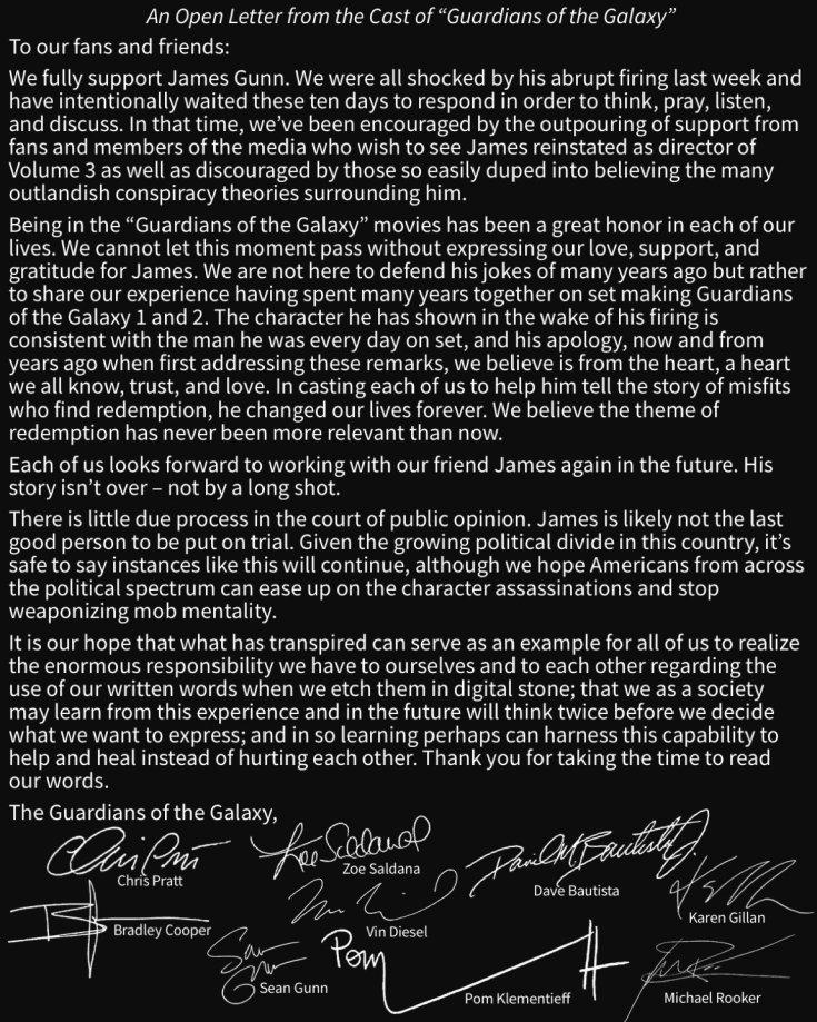 Открытое письмо Стражей Галактики в поддержку Джеймса Ганна